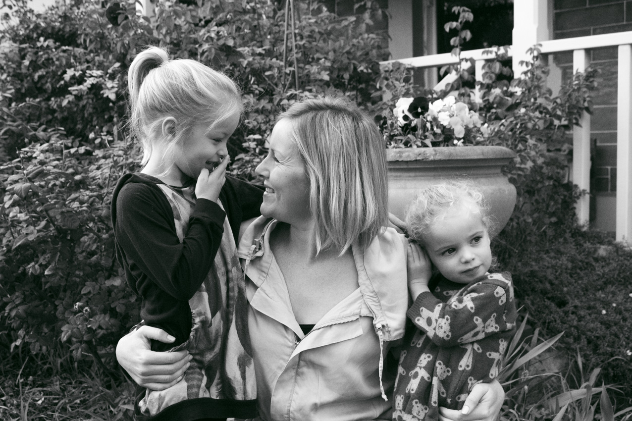 Jo with daughters Grace (left) and Daisy (right)