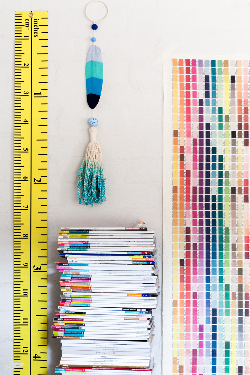 Studio details: Jumbo measuring tape, limited edition Made By Mosey, Fable Folk and Ouchflower tassel and Frankie and Swiss  printed fabric pantone colour reference. Photo by Amelia Stanwix, Styling by Esther Navarro-Orejon